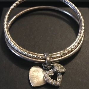 Jewelry - Silver Bangle Bracelets with 3 Hearts